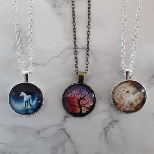 Jewelry - 3 Pendant Necklaces of Unicorns  and Tree of life